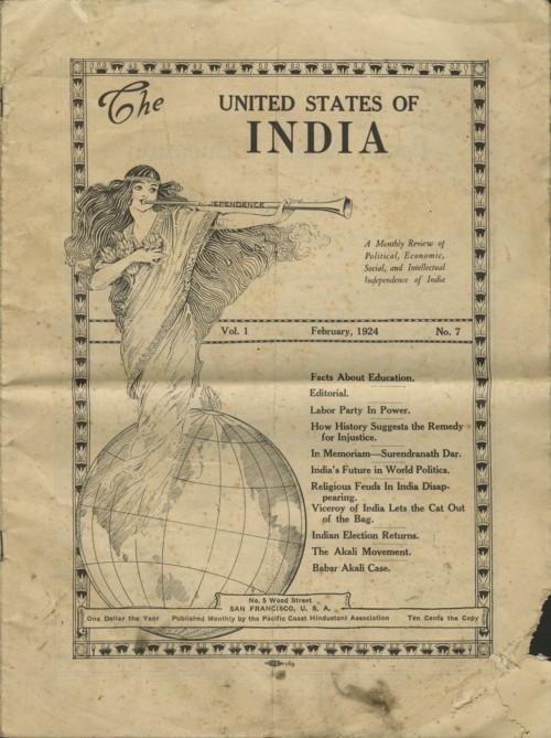 The United States of India (February 1924) published by Pacific Coast Hindustani Association [via SAADA]