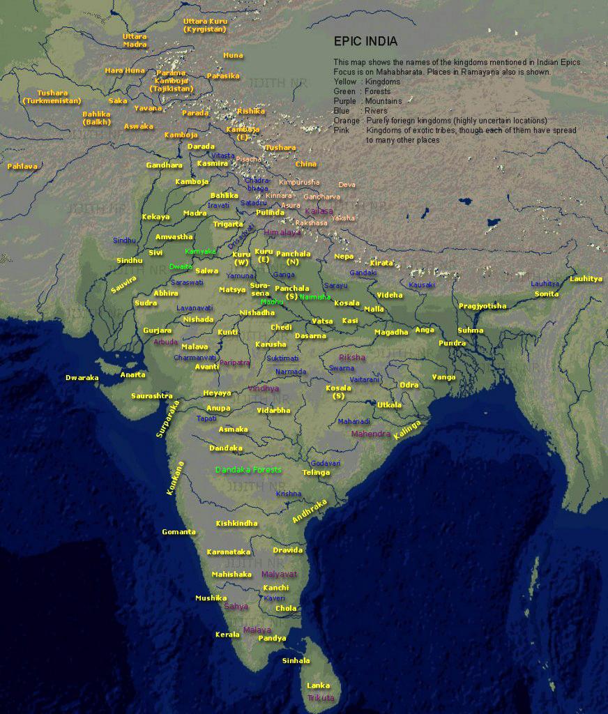 Kingdoms of Ancient India according to Hindu Epics