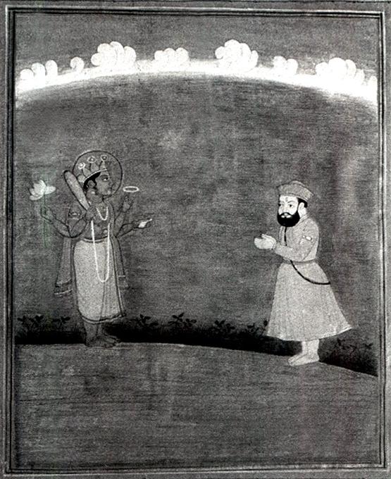 Guru Nanak worshipping Lord Visnu (Narayan)