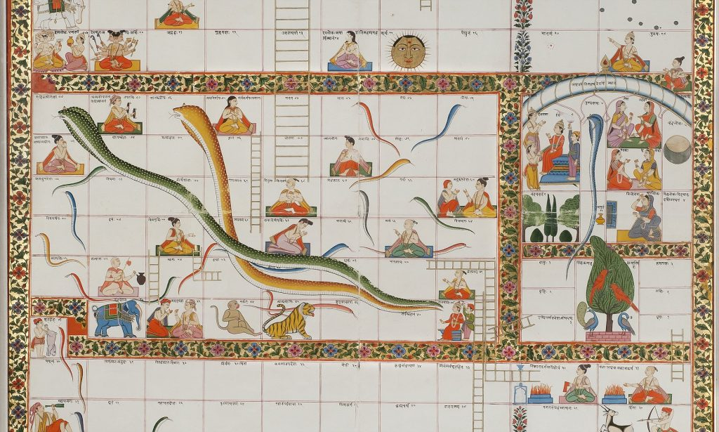 Snakes and Ladders, originated in ancient India called Mokshapat or Moksha Patamu