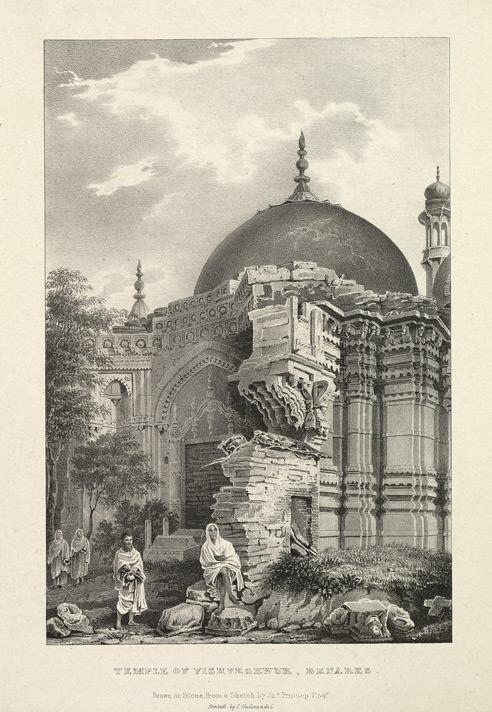 Gyanvapi Mosque, sketched as Temple of Vishveshvur in 1834 by James Prinsep